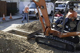 Digging a Trench to the Sewer Main
